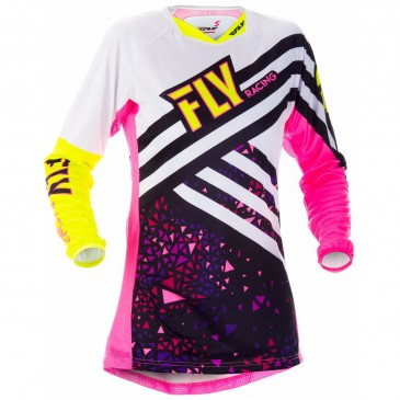 MAILLOT FEMME FLY KINETIC ROSE/JAUNE FLUO