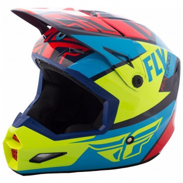 CASQUE FLY ELITE GUILD ROUGE BLEU/JAUNE FLUO