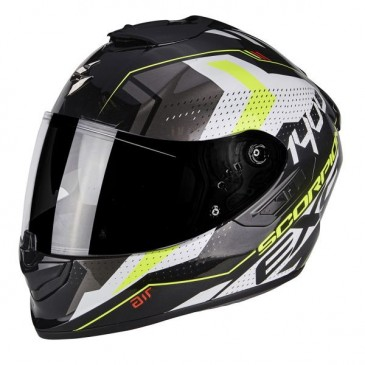 CASQUE SCORPION EXO-1400 AIR TRIKA BLANC/NOIR/JAUNE
