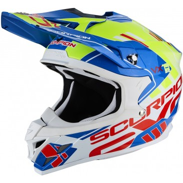 CASQUE SCORPION VX-15 AIR ARGO BLEU/JAUNE FLUO