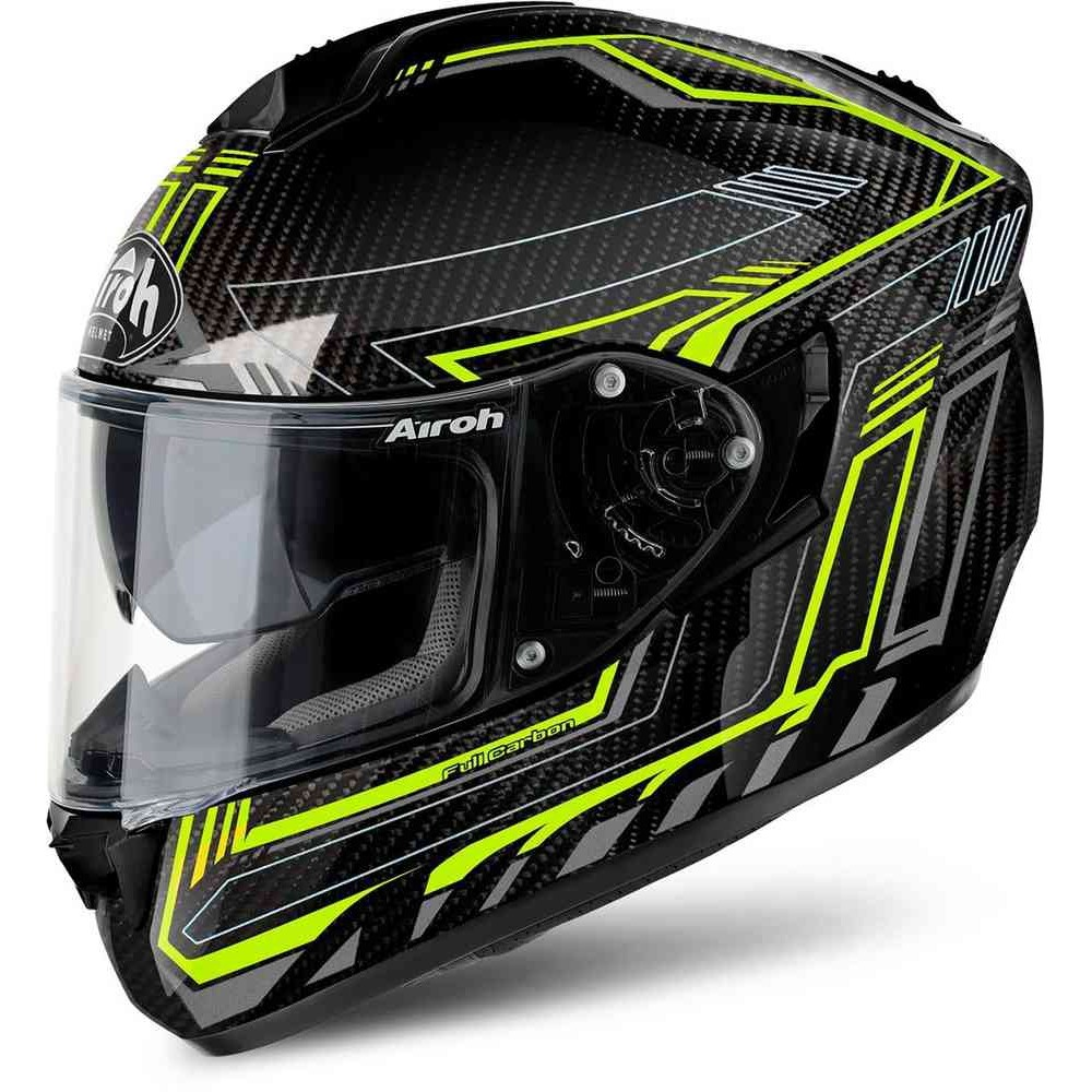 CASQUE ROUTE AIROH ST 701 SAFETY FULL CARBON YELLOW GLOSS