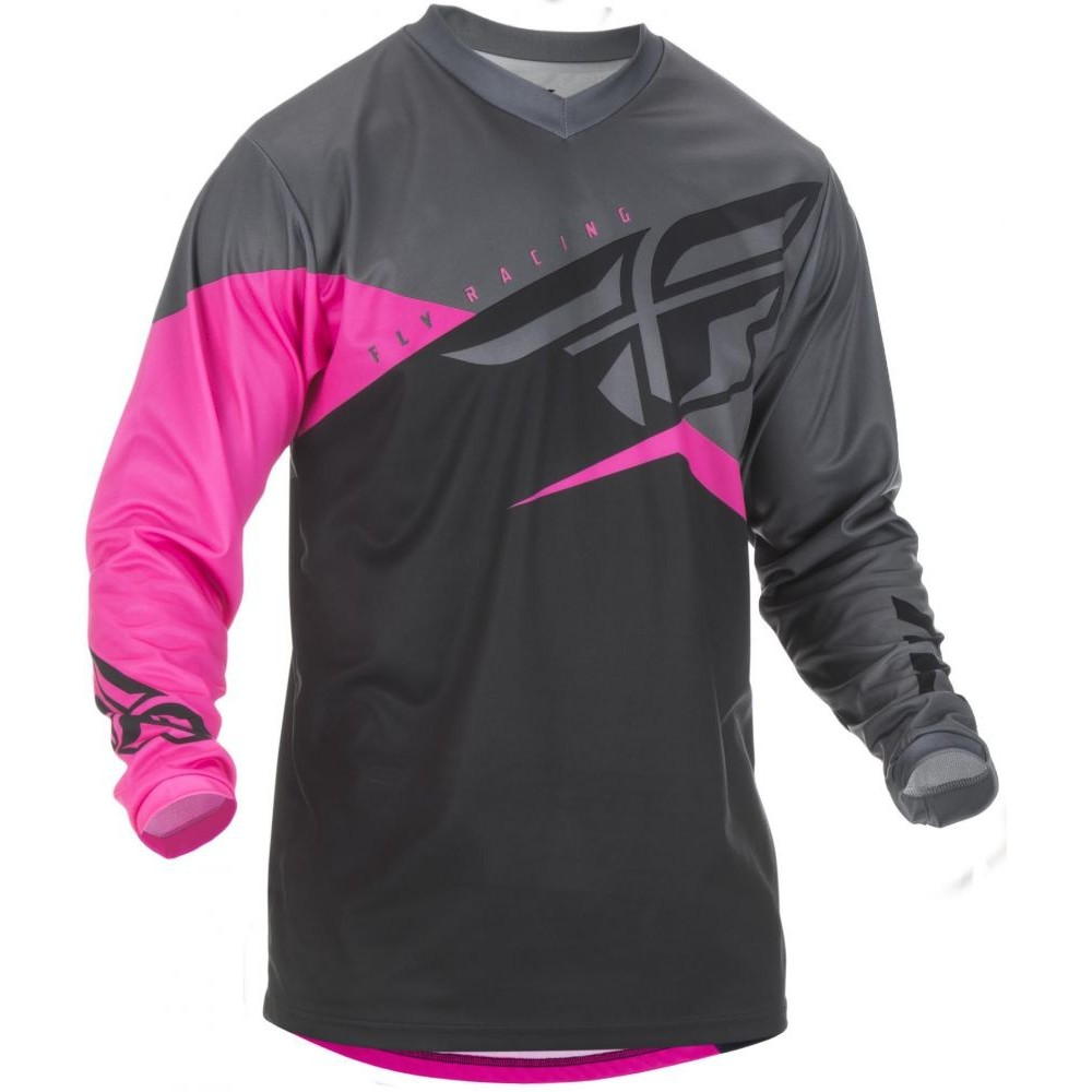 2f1a2885d99 MAILLOT FLY F-16 ROSE FLUO NOIR GRIS - Maillots - Wolff KTM