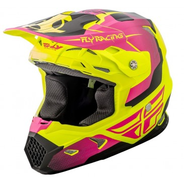 CASQUE FLY TOXINE ORIGINAL JAUNE FLUO MAT/ROSE