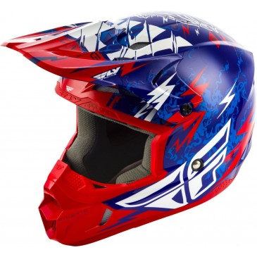 CASQUE ENFANT FLY KINETIC SHOCKED BLEU/ROUGE
