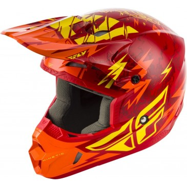 CASQUE ENFANT KINETIC SHOCKED FLY ROUGE/JAUNE