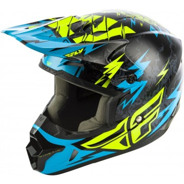 CASQUE ENFANT KINETIC SHOCKED FLY BLEU/NOIR