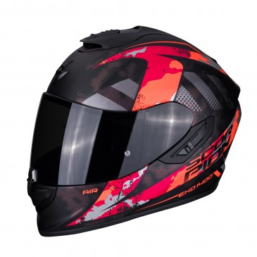 CASQUE SCORPION EXO 1400 AIR SYLEX NOIR MAT/ROUGE