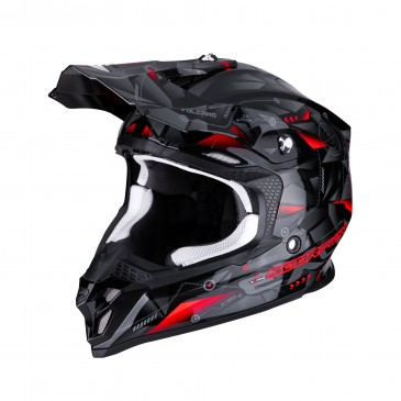 CASQUE SCORPION VX-16 AIR PUNCH NOIR/ARGENT/ROUGE