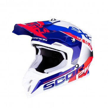 CASQUE SCORPION VX-16 AIR ARHUS BLANC/BLEU/ROUGE FLUO
