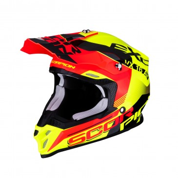 CASQUE SCORPION VX-16 AIR ARHUS JAUNE FLUO/ROUGE FLUO