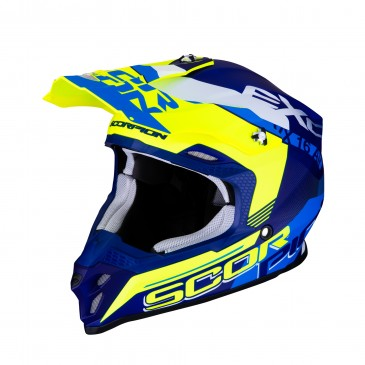 CASQUE SCORPION VX-16 AIR ARHUS BLEU MAT/JAUNE FLUO