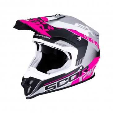 CASQUE SCORPION VX-16 AIR ARHUS ARG MAT/NOIR/ROSE