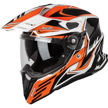 CASQUE AIROH COMMANDER CARBON ORANGE GLOSS