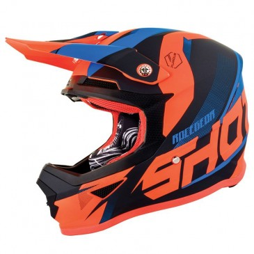 CASQUE SHOT ULTIMATE BLEU NEON/ORANGE MAT