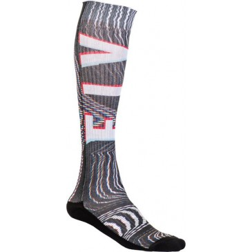 CHAUSSETTES FLY MX PRO THIN GLITCH/NOIR /BLANC