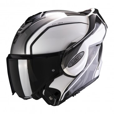 CASQUE MODULABLE SCORPION EXO-TECH TIME-OFF BLANC NACRE/ARGENT