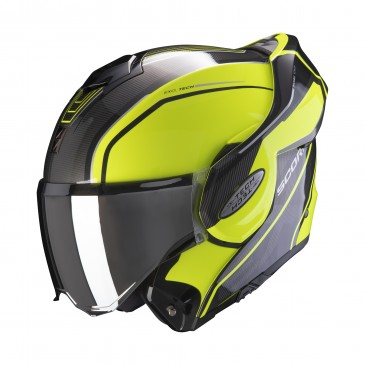CASQUE MODULABLE SCORPION EXO-TECH TIME-OFF JAUNE FLUO/ARGENT