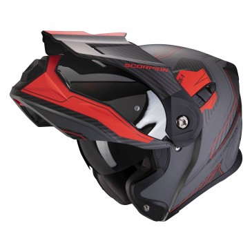 CASQUE AVENTURE MODULABLE SCORPION ADX-1 TUCSON GRIS CIMENT MAT/ROUGE