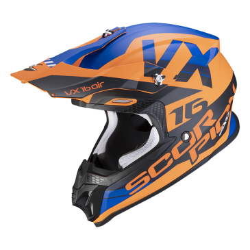 CASQUE SCORPION VX-16 AIR X-TURN ORANGE MAT/BLEU