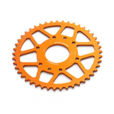 COURONNE KTM ALUMINIUM ANODISEE ORANGE 125/390 CC