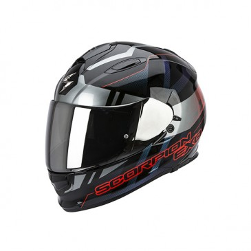 CASQUE SCORPION EXO 510 AIR STAGE NOIR-ARGENT-ROUGE