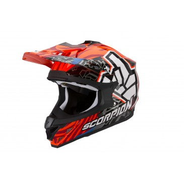 CASQUE SCORPION VX15 EVO AIR ROK BAGOROS ORANGE FLUO