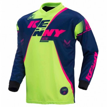 MAILLOT ENF KENNY TRACK MARINE/LIME/ROSE FLUO