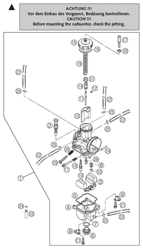 KTM EXC//SX//TE//F 250//300//400//450//530 Vanne à flotteur pour Keihin PWK FCR